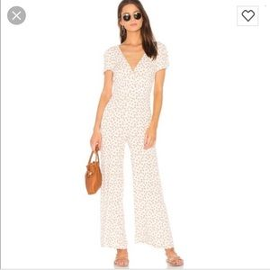 Free People Peach Print Mia Jumpsuit